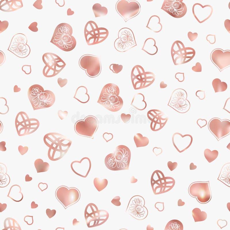 love heart seamless pattern rose gold colors stock line vector illustrationr love heart seamless pattern rose gold colors 101016237