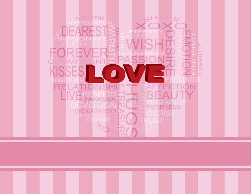 Love Heart Shape Word Cloud On Pink Background Royalty Free Stock Image