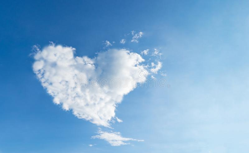Love Heart shaped cloud blue sky for love and romance royalty free stock image