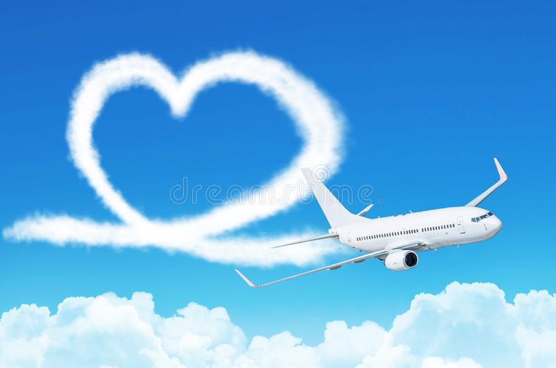 Love heart in the sky concept aviation airplane. stock photo