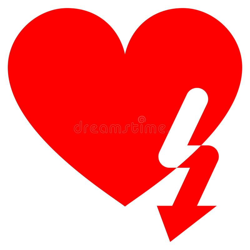 Love Heart Strike Flat Icon. Love Heart Strike flat vector pictogram. An isolated icon on a white background vector illustration