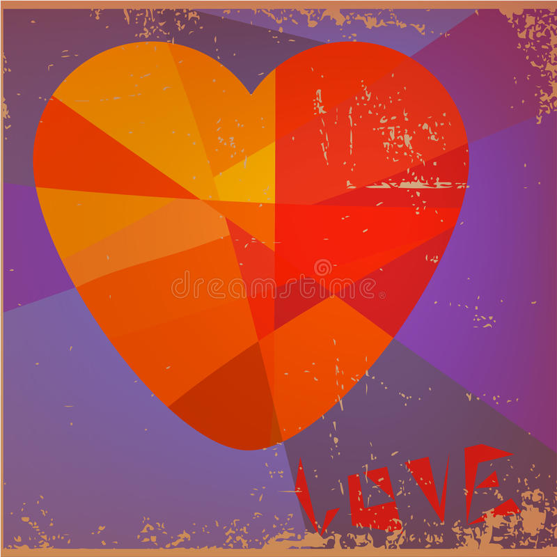 Love Heart Valentines day Greeting card Retro grun stock photography
