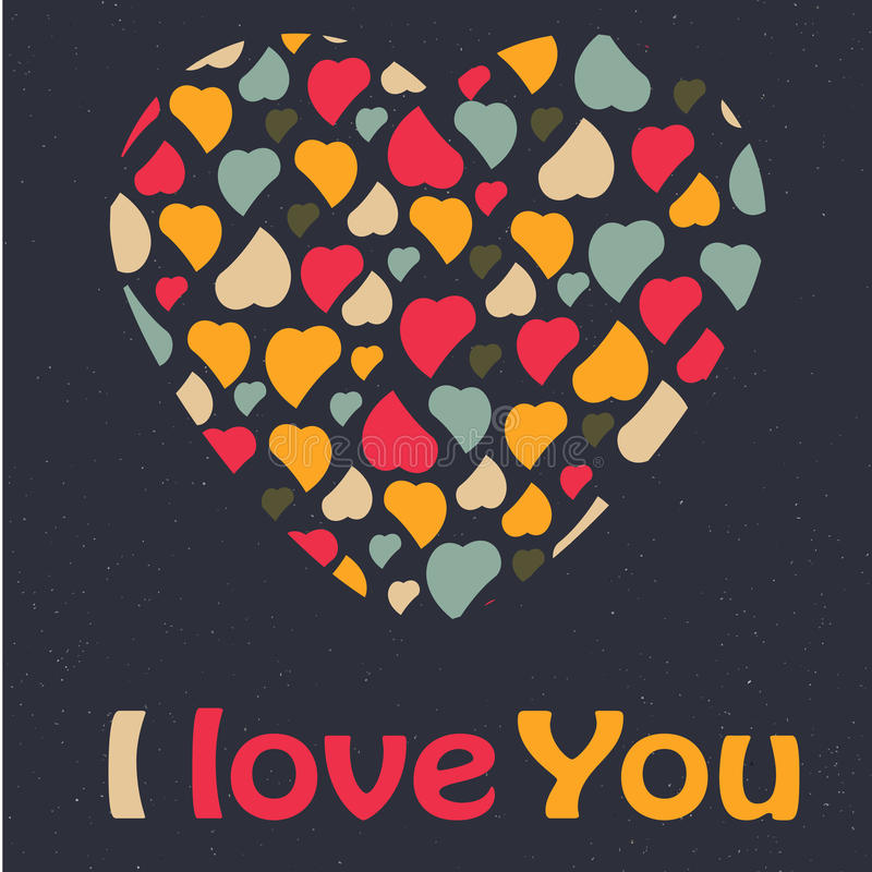 Love Heart Valentines day Greeting card trendy col stock photos