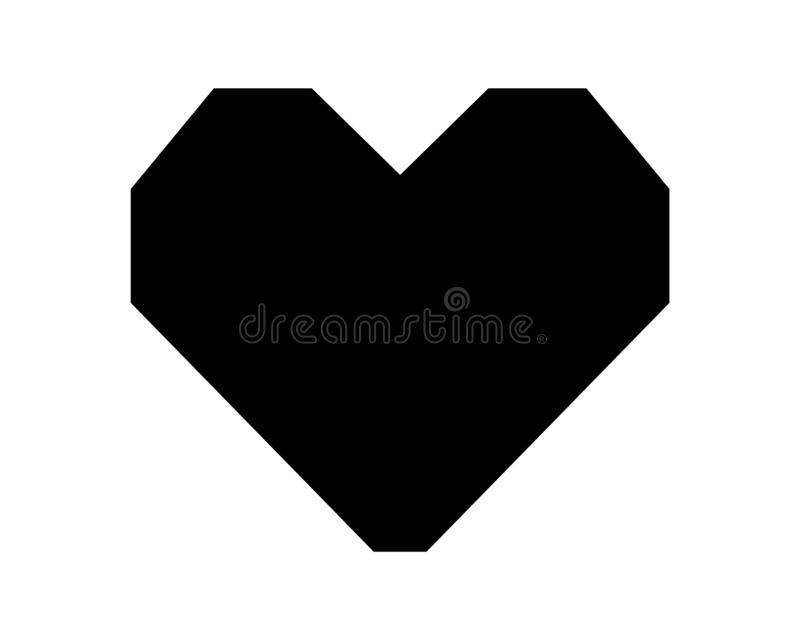 Love heart vector icon black silhouette isolated on white background stock illustration