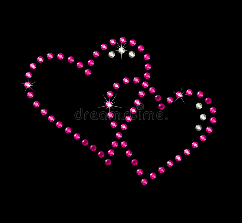 Love hearts. Precious heart with brilliants and rubies royalty free illustration
