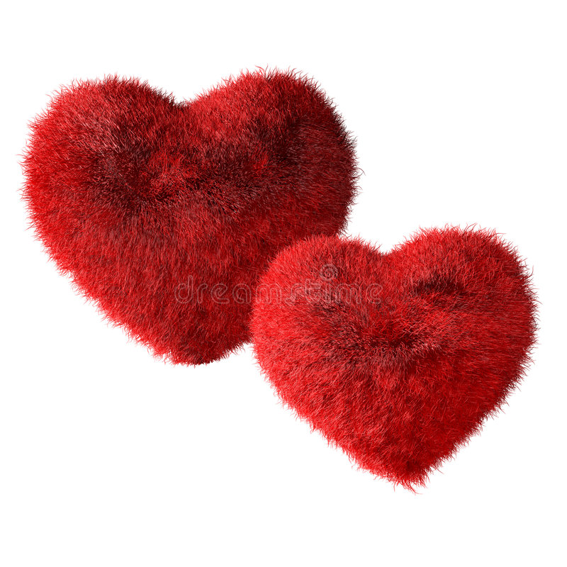 Love Hearts. Two red hairy hearts created in 3D software stock illustration