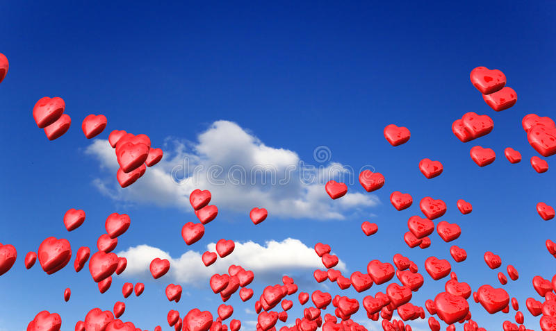 love hearts in blue sky stock photo  image of decoration