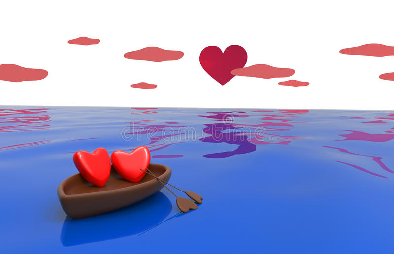 Love hearts in a boat. Love hearts in the boat with the sky and the heart - the sun vector illustration