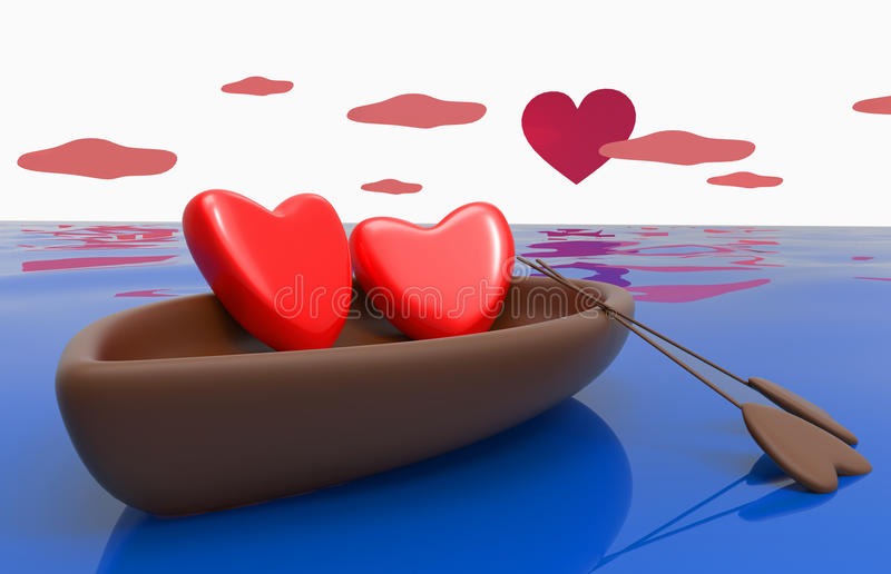 Love hearts in a boat. Love hearts in the boat with the sky and the heart - the sun stock illustration