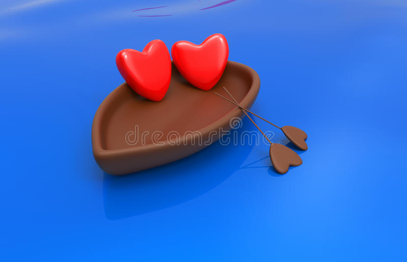 Love hearts in a boat. Love hearts in the boat with the sky and the heart - the sun royalty free illustration