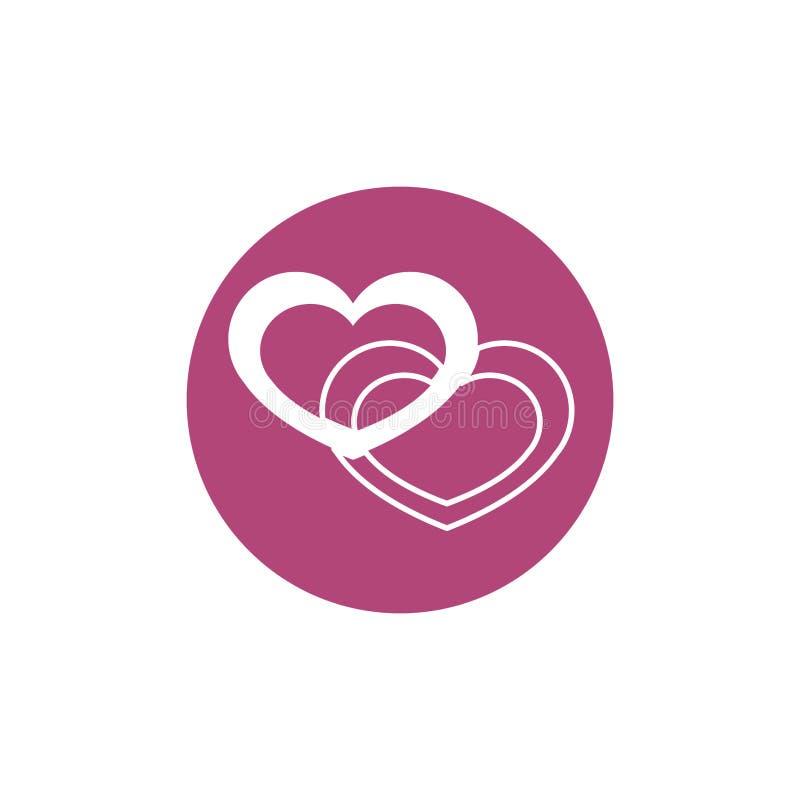 Love hearts breast cancer awareness. Block icon vector illustration stock illustration