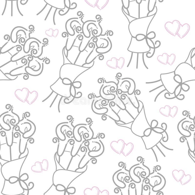 Love hearts and calla lilies pattern royalty free illustration