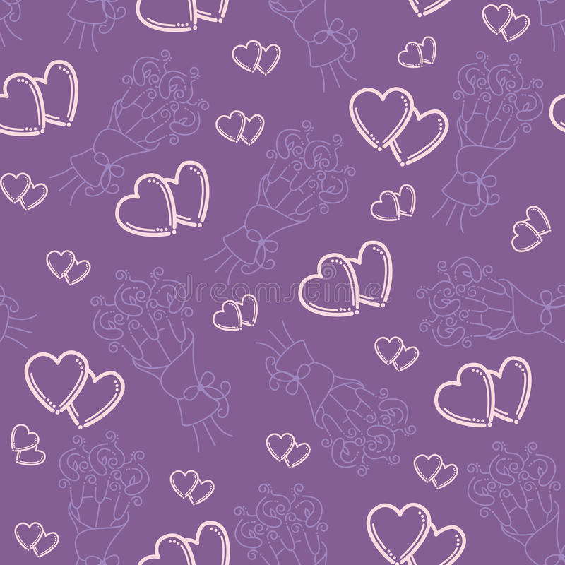Love hearts and callas lilies bouquets royalty free illustration