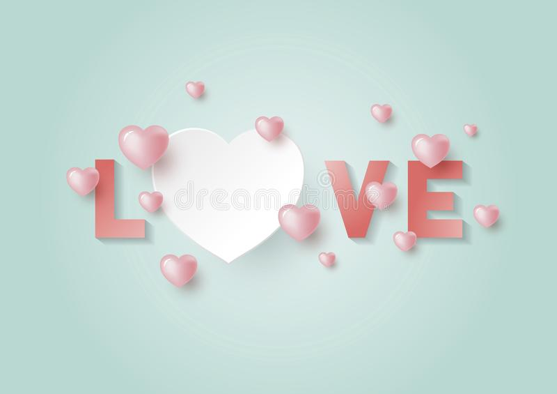 Love with hearts with copy space for Valentines day and wedding card royalty free illustration