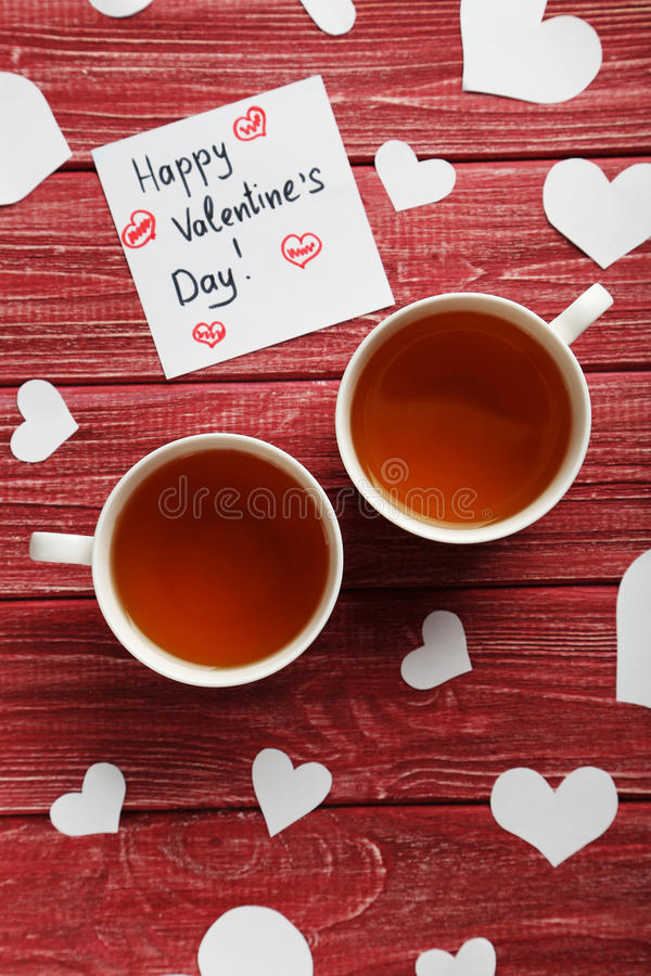 Love hearts with cups of tea royalty free stock images