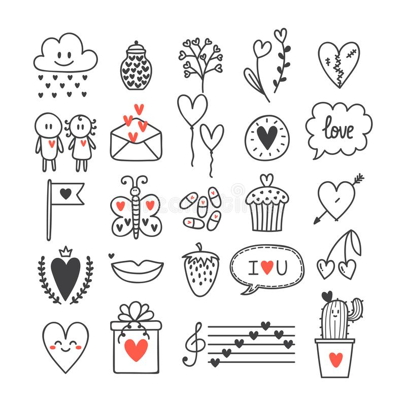 Love and hearts. Hand drawn set of cute doodle elements. Sketch collection for wedding or Valentine`s Day design stock illustration