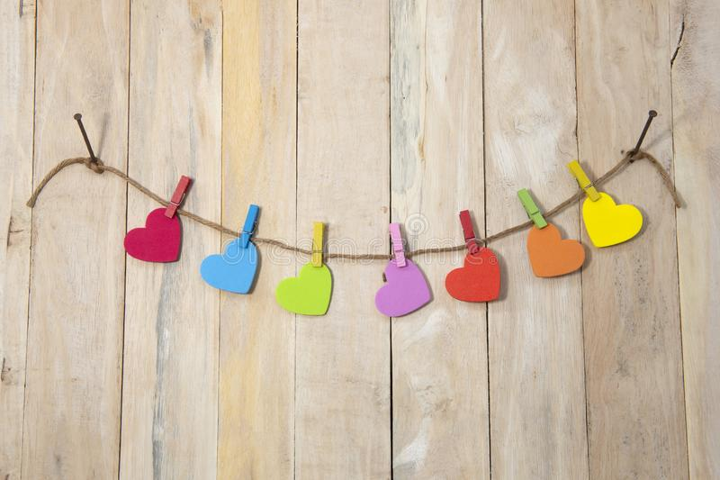 Love hearts hanging on rope stock photography