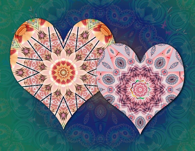 Love hearts mandalas. Beautiful spiritual mandala love hearts stock illustration