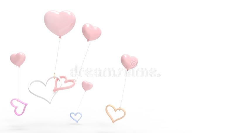 Love and Hearts Pink balloons and Valentine`s Day Inspiration Modern Concept composition and wedding greeting cards on isolated royalty free illustration