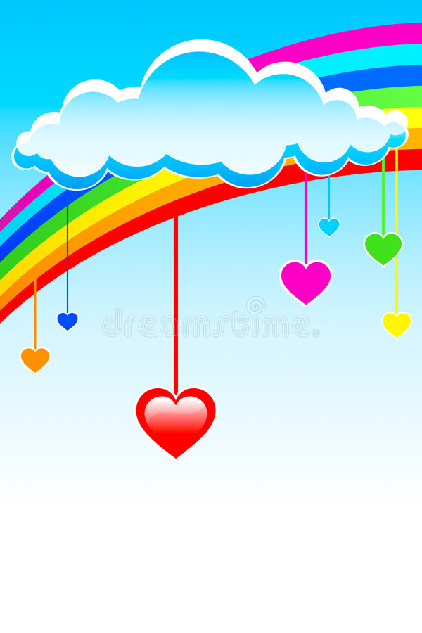 Love hearts rain stock illustration