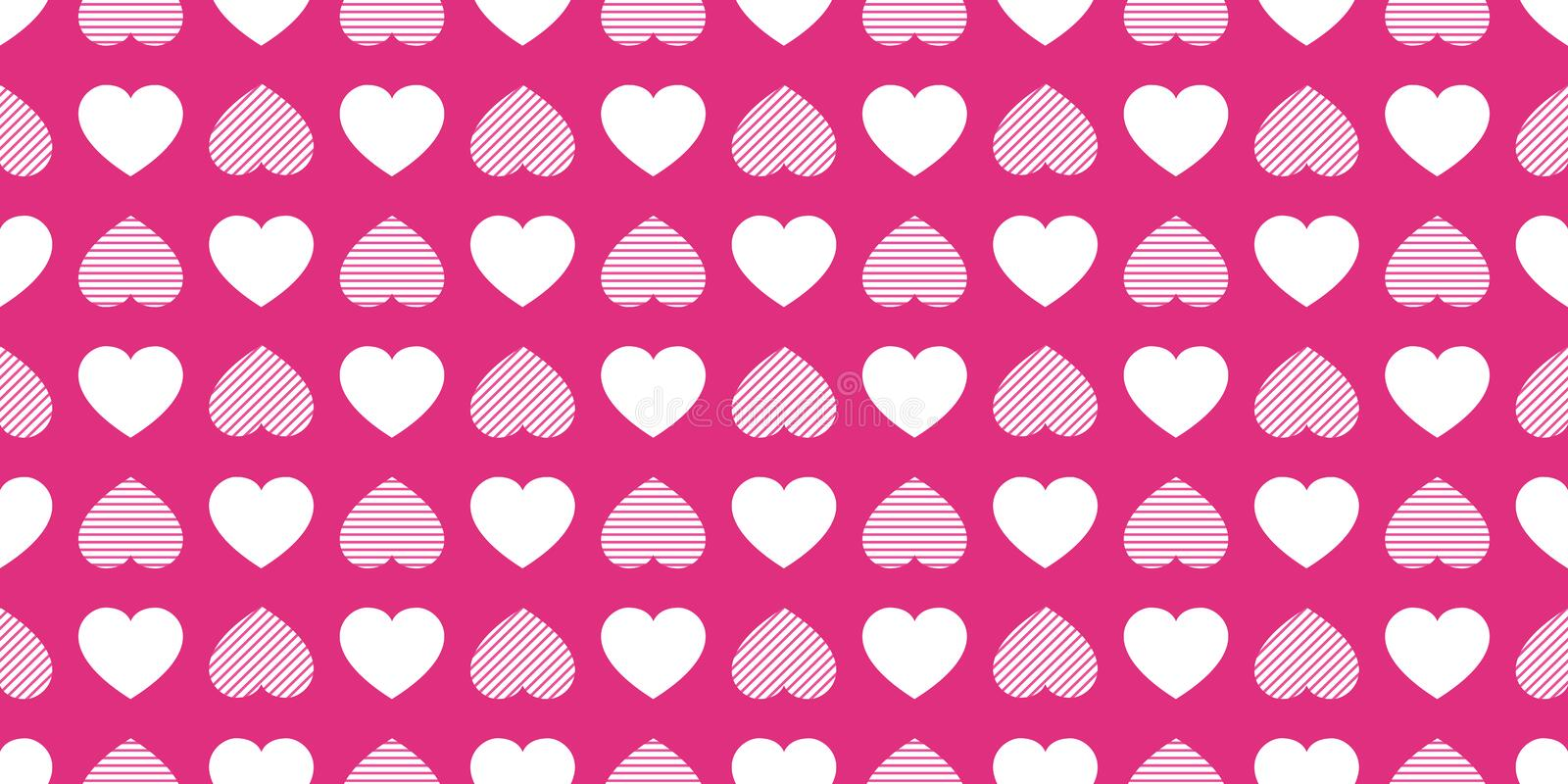 Love hearts repeated texture. Saint Valentines Day vector background. Romantic seamless pattern for greeting cards, invitation and royalty free illustration