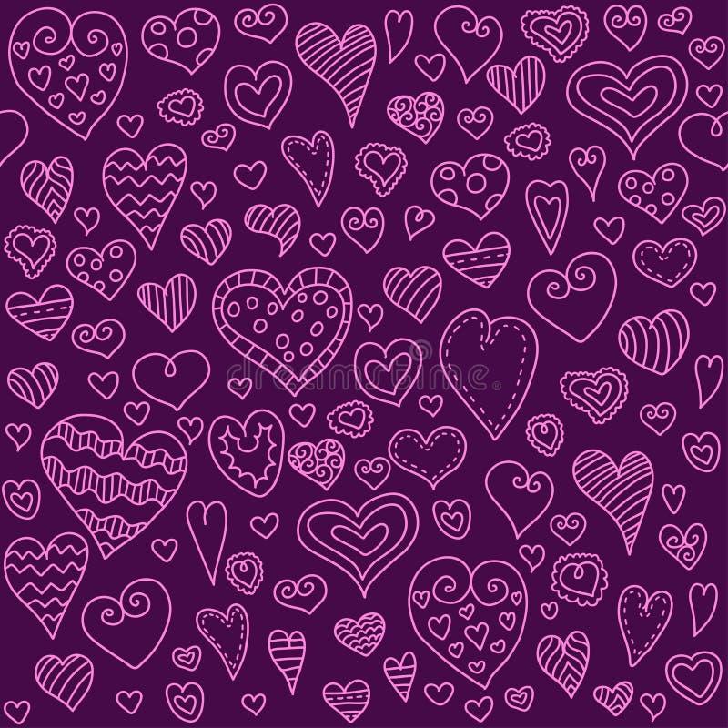 Love hearts seamless pattern. Doodle heart. Romantic background. Vector illustration stock illustration