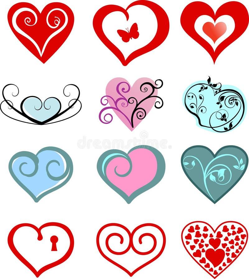 Love hearts. Set of valentine or wedding love hearts design stock illustration