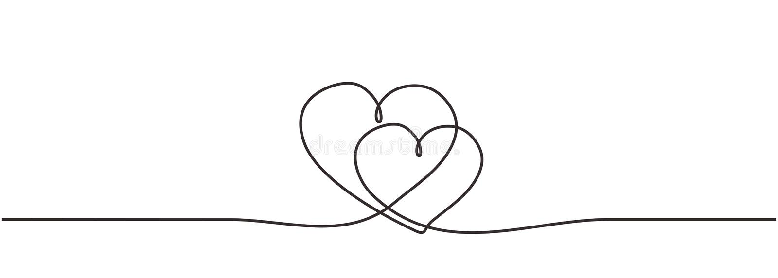 Love hearts sign continuous one line drawing. Single lineart hand drawn of romantic wedding invitation element vector illustration royalty free illustration