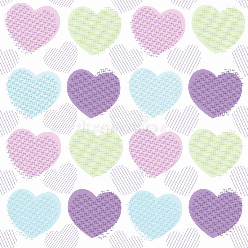Love hearts simple pattern in geometrical style. royalty free illustration