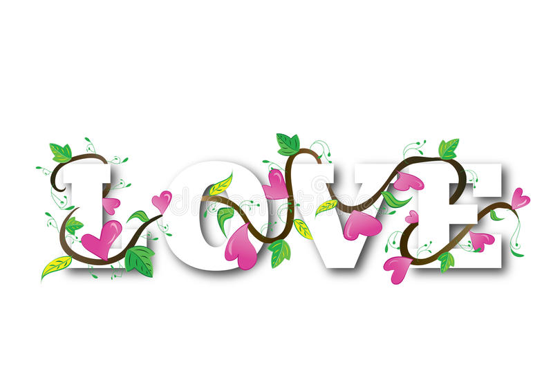 Love hearts text royalty free illustration