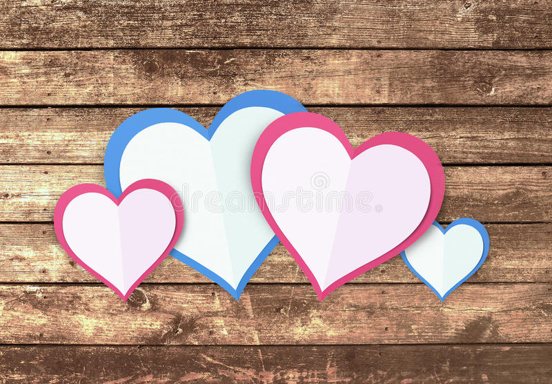 Love Hearts. Valentine`s Day Concept Love Hearts with Wooden Background stock image