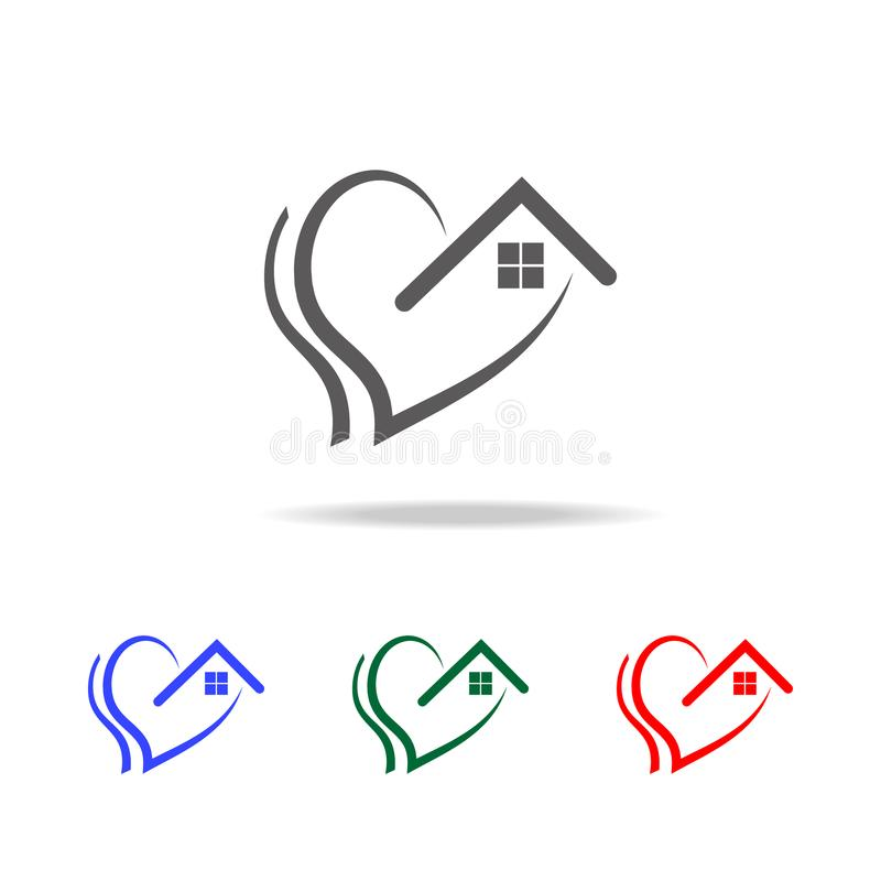 love of home icon. Elements of Valentine's Day in multi colored icons. Premium quality graphic design icon. Simple icon for websi stock illustration
