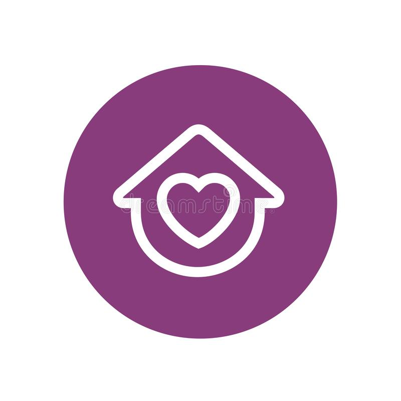 Love home icon, house combined with heart sign, vector icon design, home and love vector logo, thin line style royalty free illustration