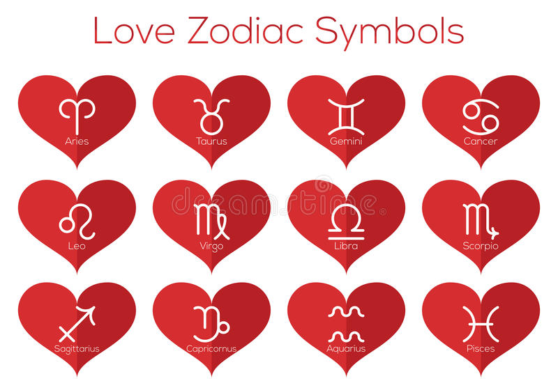 Love Horoscope Symbols Astrological Signs Of The Zodiac Vector Set