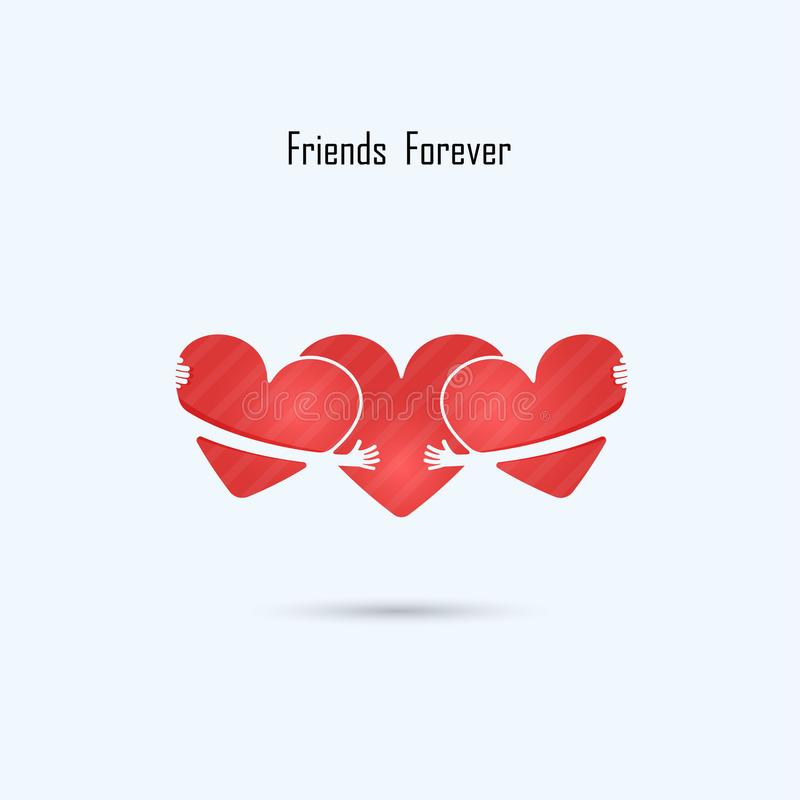 Free LOVE-HUG-FRIENDS FOREVER Vector Logo Design Template.Aid & Love Stock Photography - 100392452