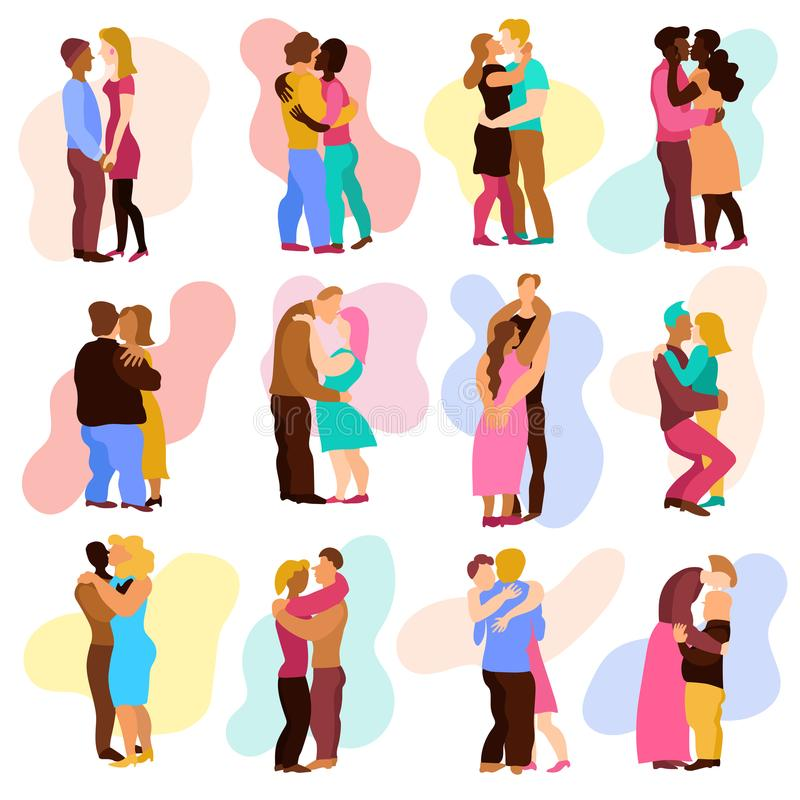 Love Hugs Set. With man and woman relations symbols flat isolated vector illustration stock illustration