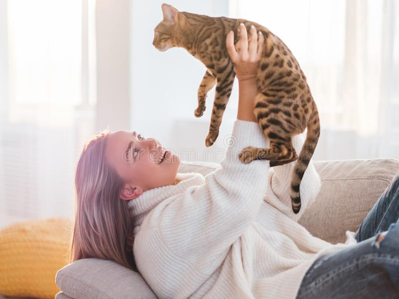 Love human animal relationship furry friend cuddle. Love human and animal relationship. furry friend. cuddling time. girl holding her kitty high in the air royalty free stock photos