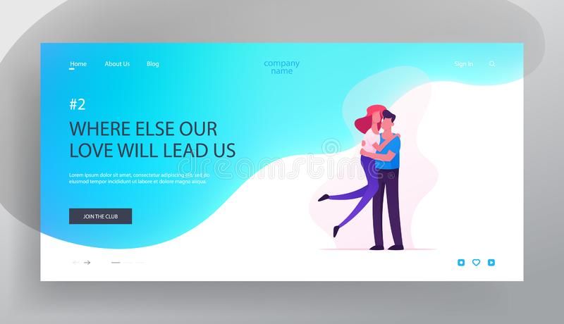 Love, Human Relations, Togetherness Website Landing Page, Man Holding Young Woman on Hands, Happy Loving Couple Sparetime royalty free illustration