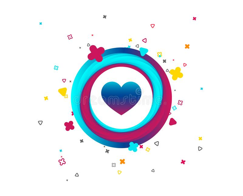 Love icon. Heart sign symbol. Colorful button with icon. Geometric elements. Vector stock illustration