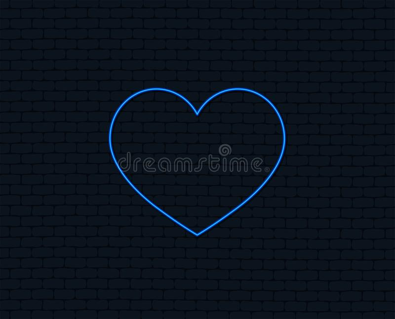 Love icon. Heart sign symbol. Neon light. Love icon. Heart sign symbol. Glowing graphic design. Brick wall. Vector stock illustration