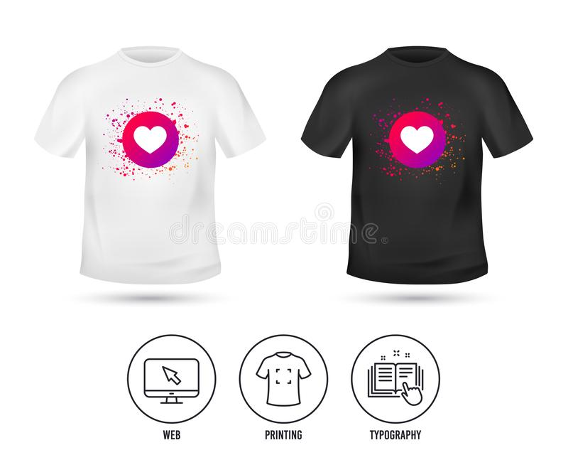 Love icon. Heart sign symbol. Vector. T-shirt mock up template. Love icon. Heart sign symbol. Realistic shirt mockup design. Printing, typography icon. Vector royalty free illustration