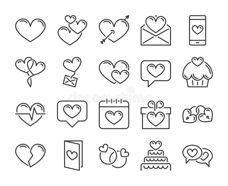 Love icon. Romantic, Hearts , Valentines day line icons set. Editable stroke, 64x64 Pixel perfect stock illustration
