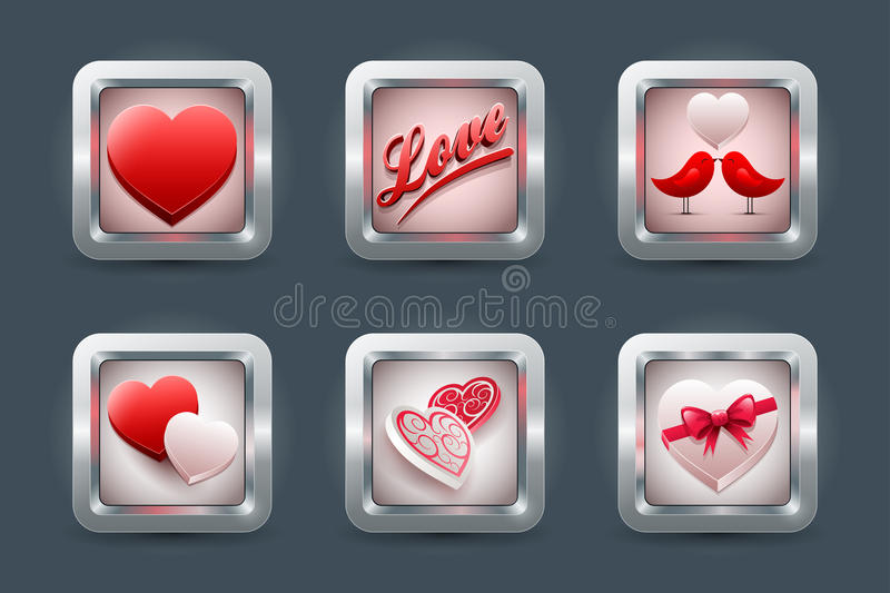 Love icon Set royalty free illustration
