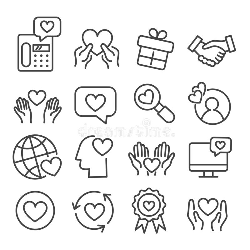 Love icon set isolated. Modern outline on white background royalty free illustration