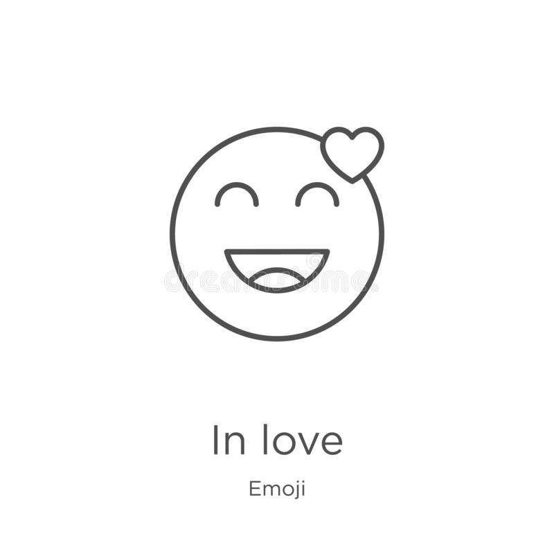 In love icon vector from emoji collection. Thin line in love outline icon vector illustration. Outline, thin line in love icon for. In love icon. Element of stock illustration