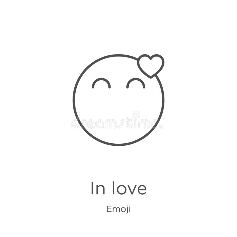 In love icon vector from emoji collection. Thin line in love outline icon vector illustration. Outline, thin line in love icon for. In love icon. Element of vector illustration