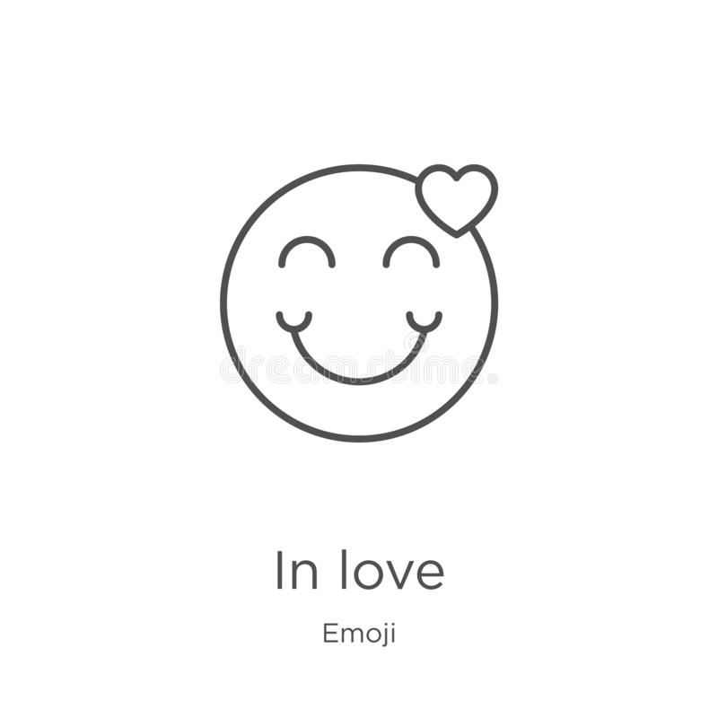 In love icon vector from emoji collection. Thin line in love outline icon vector illustration. Outline, thin line in love icon for. In love icon. Element of royalty free illustration