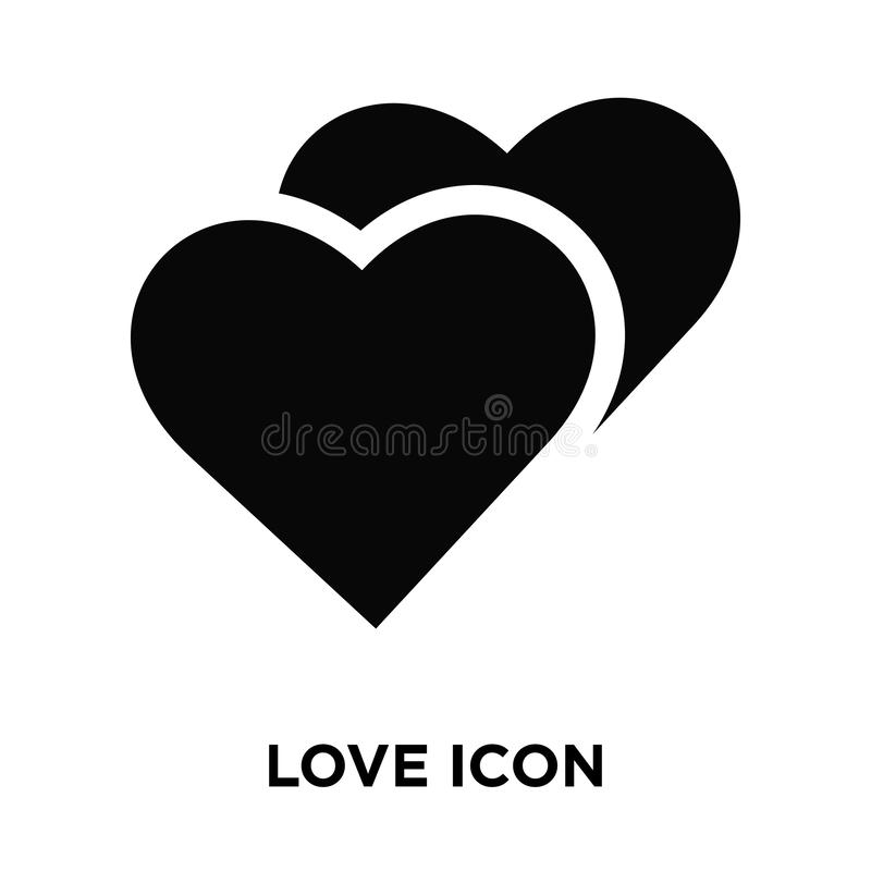Love icon vector isolated on white background, logo concept of L. Ove sign on transparent background, filled black symbol stock illustration