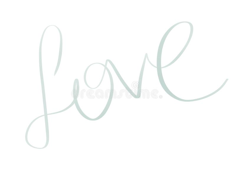 Love illustration. Handwritten Love text sign on white background isolated. Wedding greeting card. Happy valentines day. Card vector illustration