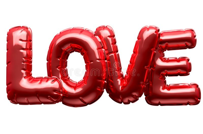 A Set Of Four Metallic Balloon Letters Spelling The Word Love To Commemorate Valentines Day On An Isolated White Background D Render